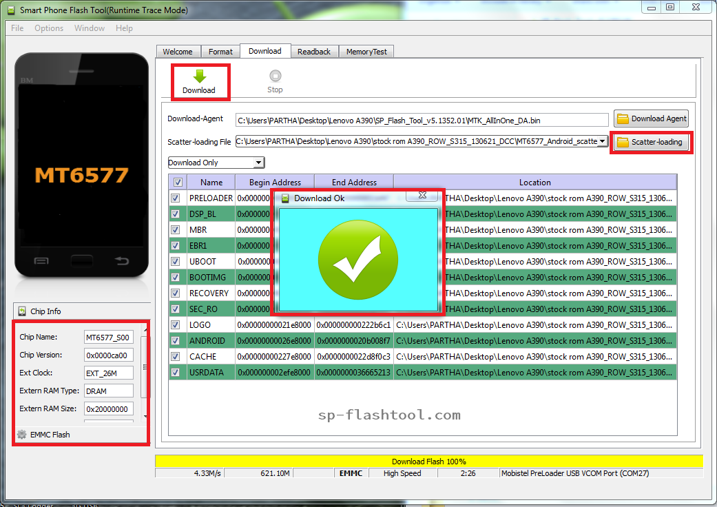 Sp flash tool Mtk6582 download